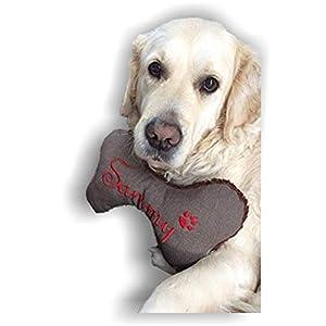 Hunde Spielzeug Kissen Knochen Hundeknochen XXS XS S M L XL XXL Quietscher Jeans braun meliert bestickt Name Wunschname…