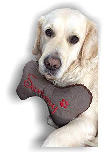 Hunde Spielzeug Kissen Knochen Hundeknochen XXS XS S M L XL XXL Quietscher Jeans braun meliert bestickt Name Wunschname Hundekissen personalisiert Unikat persönliches Geschenk Hundespielzeug