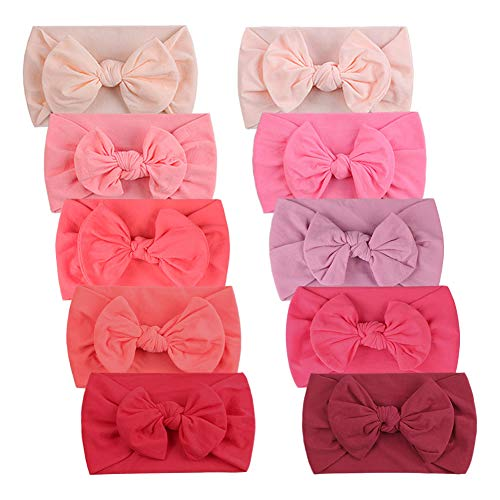 Duoyeree Baby Girl Headbands with Bow Soft Stretchy Toddler Nylon Headwraps 0-5T (10 Pack-Pink) (Apparel)