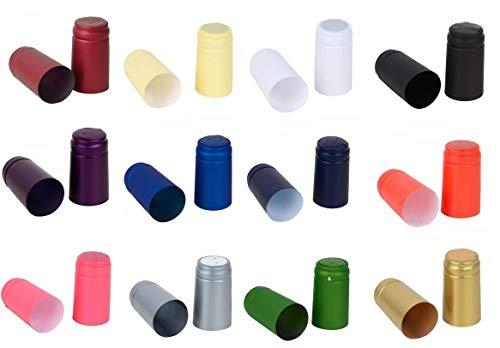 HUGBERT Top Schrumpfkapseln, Kapseln für Weinkorken, Flaschenkapseln mit einem Aufreißstreifen, Siegelkapseln, verschiedene Farben, Passt zu jeder Standard Wein- oder Sektflasche, Orange, 100 Stück