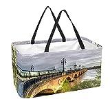 Bolsa de comestibles reutilizable grande, resistente bolsa de compras con parte inferior reforzada y asa (impresión de trenes de Francia Bridges Rivers)