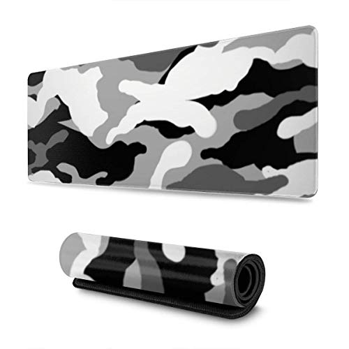 Camouflage White Black Design Pattern XXL XL Large Gaming Mouse Pad Mat Long Extended Mousepad Desk Pad Non-Slip Rubber Mice Pads Stitched Edges (31.5x11.8x0.12 Inch)