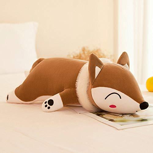 Recordever Creative Lying Soft Fox Doll Knuffel Groot Slaapkussen Pop-bruin Fox_90cm