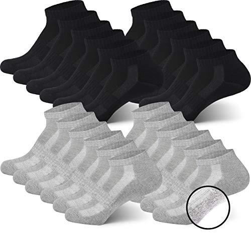 MC.TAM® Unisex Sportsocken Quartersocken Herren Damen 12 Paar 80% Baumwolle (Oeko-Tex® Standard 100) Frotteesohle, 43-46, 12x QF, Schwarz & Grau