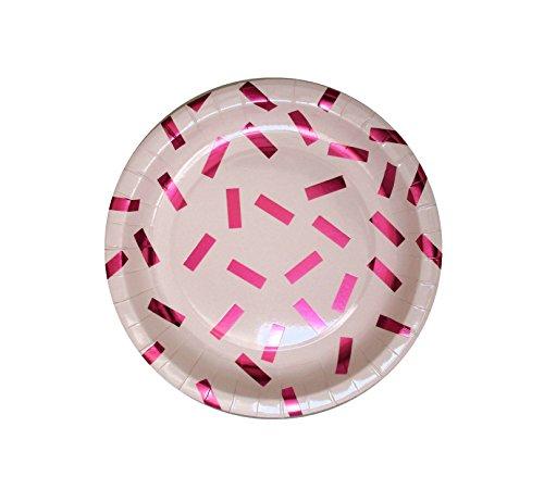 InviteMe 10 platos de papel brillantes de la serie 'Pink Confetti'.