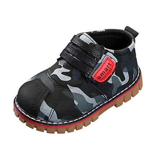 Bestyyo Frühling Unisex hübsche Street Camouflage Ankle Boots runde Kappe Klettverschluss Kleinkind Kind Freizeitschuhe Jungen Mädchen (28, Schwarz)