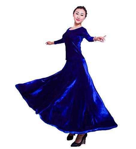 [L-night]モダンダンス衣装 社交ダンスドレス ベルベット生地 3色展開 ワルツドレス ラテンドレス 練習着競技用 スタンダードドレス ワルツ専用スカート発表会用演出服 開場衣装ワンピース(ブルー,XL)