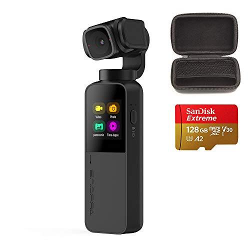 Snoppa Vmate Stabilizzatore cardanico 3 assi con Smart Camera 4K, 118g, connessione WiFi, microfono incorporato, obiettivo rotante a 90 °, supporto microfono Bluetooth, scheda Micro SD W 128G