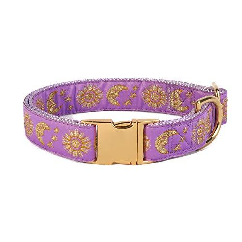 waaag Pet, Moons Stars Suns Dog Collar Cat Collar Hound Collar, Multiple Designs Crescent Celestial Dog Collar Hound Collar Cat Collar (Lavender, L 16'-24' Neck)