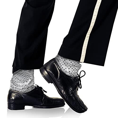 Skeleteen Calcetines para disfraz de lentejuelas plateadas, con lentejuelas plateadas, para fiestas de danza brillante, para calcetines, accesorios