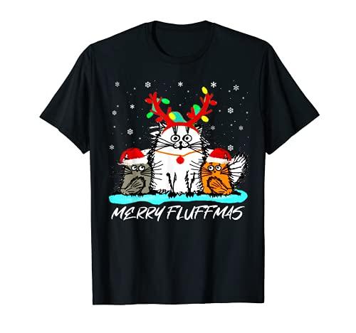 Merry Fluffmas - Regalos divertidos para amantes de gatos de Papá Noel Camiseta