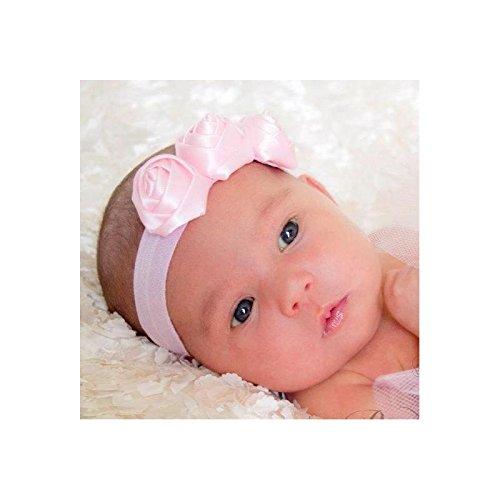 Bandeaux bébé modèle triple rose satin
