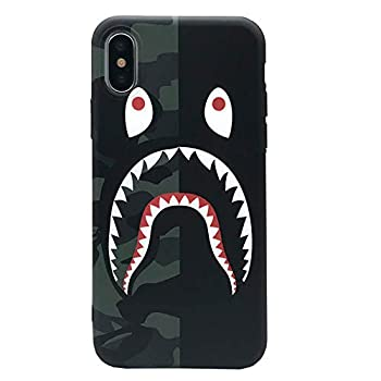 iPhone Xs Max Case Street Fashion Design Flexible Durable Full-Protective Back Case Cover for iPhone Xs Max 6.5inch  Black/Shark