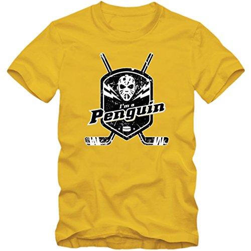 I'm a Penguin #1 T-Shirt |Herren | Eishockey | Play Offs | Fanshirt, Farbe:Gelb (Gold L190);Größe:XXL