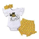 Iwemek - Conjunto de ropa para bebé y niña, manga con volantes, pantalón corto de flores y diadema con lazo para fiesta de cumpleaños, fiesta casual de verano, Blanco abeja, 3-6 Meses