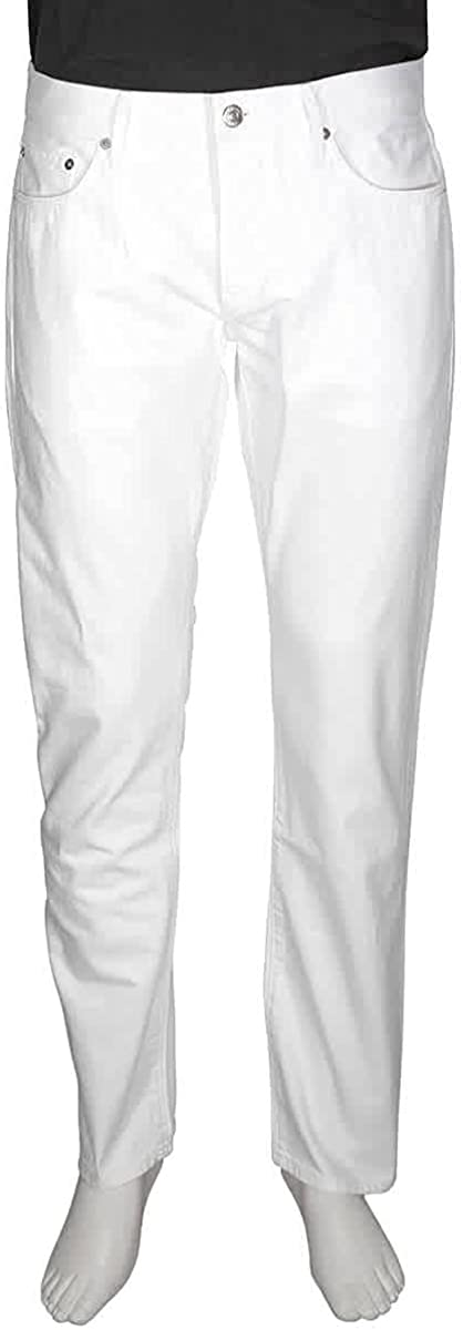 Burberry Men's New White Straight Jeans, Brand Size 32R