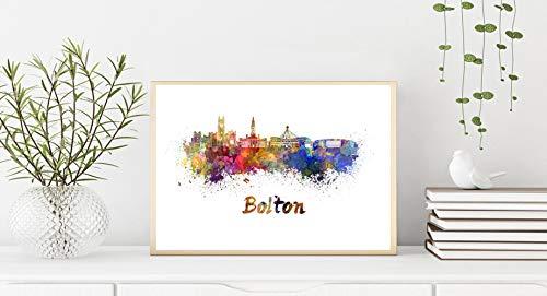 Bolton Skyline en acuarela Papel Fotográfico 5x7 Inches