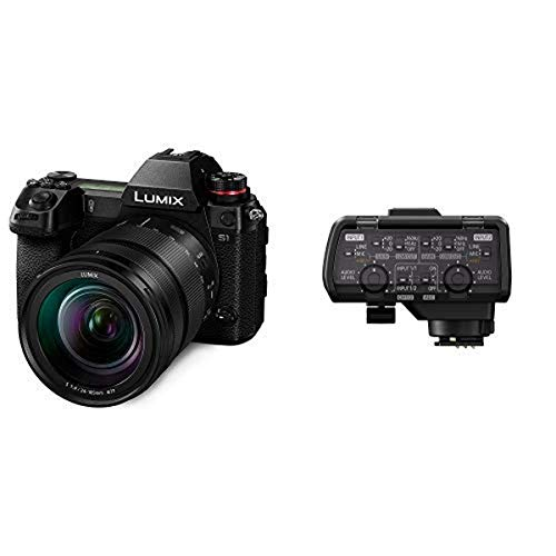 Panasonic LUMIX S1 Full Frame Mirrorless Camera with 24.2MP MOS High Resolution Sensor, 24-105mm F4 L-Mount S Series Lens and Professional XLR Audio Video Microphone Adaptor with 2 XLR Terminals