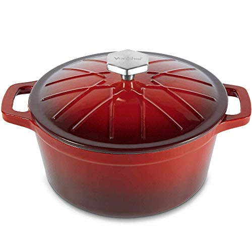 VonShef Cast Iron Round Dutch Oven Pot Casserole Dish, Naturally Non Stick Stain and Odor Resistant, Enamel Coated Graduated Red Ombre, 12 Inches, 4 Quarts