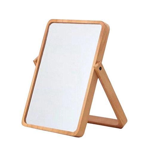 Restbuy kosmetikspiegel Tischspiegel Standspiegel Klein mit Holz-Rahmen und Standfuß Braun