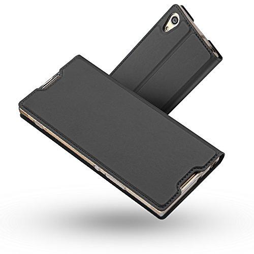 Radoo Coque Sony Xperia XA1 Ultra,Ultra Mince en Cuir PU Premium Housse à Rabat Portefeuille Coque Étui de Protection Bumper Folio à Clapet pour Sony Xperia XA1 Ultra (Gris-Noir)