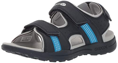 Geox VANIETT Boy J925XB Jungen Trekking Sandalen,Kinder Outdoor-Sandale,Sport-Sandale,Aussensteg,3-Fach Klett,Navy/Turquoise,34