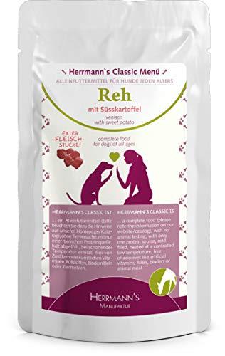 Herrmanns Reh Menu 1 mit Bio-Süsskartoffeln, Bio-Beeren, Bio-Nachtkerzenöl 130g Hundefutter, 12er Pack (12 x 130g)