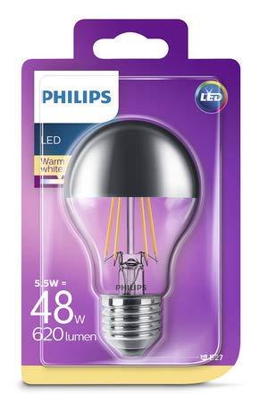 Philips Philips Lampadina LED Goccia, Attacco E27, 5.5 W Equivalenti a 48 W, 2700K, Cupola Argentata, E27, 5.5 watts, Bianco, 10.4x6x6 cm