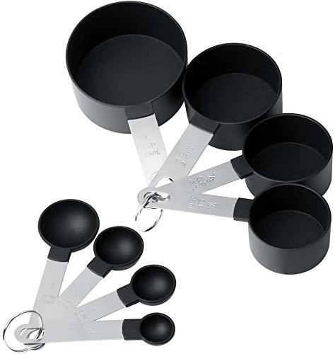Yilu Juego de cucharas medidoras, 8 piezas de vasos medidores de plástico y cuchara con mango de acero inoxidable con asas de metal para líquidos y sólidos