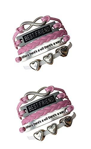 STRASS & PAILLETTES Lote de Dos Pulseras Best Friend Rosa 3 corazón. Pulsera BF Cita y Enlace Plata Infinita. Regalo de Mejor Amigo