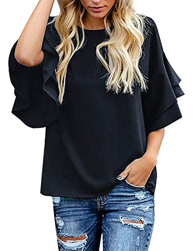 luvamia Women's Navy Blue Casual 3/4 Tiered Bell Sleeve Crewneck Loose Tops Blouses Shirt Size XL