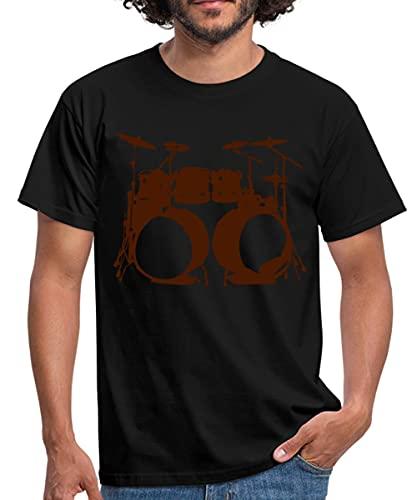 Schlagzeug, Drums, Drummer, Schlagzeuger, Musik, Instrument, Double bass Männer T-Shirt, L, Schwarz
