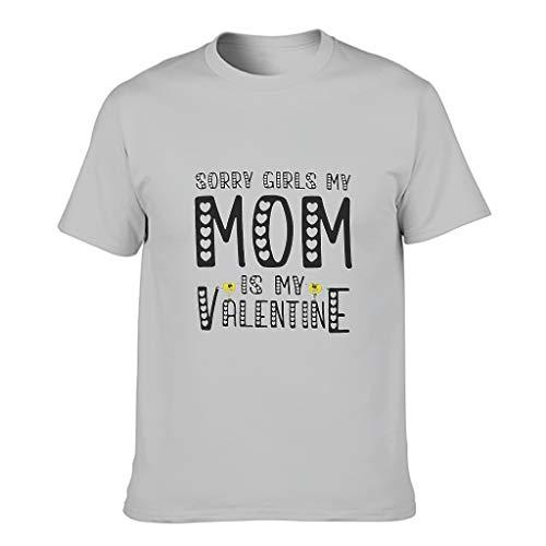 Camiseta de algodón para hombre, diseño con texto 'Sorry Girls My Mom is My Valentine' Gris plateado. L