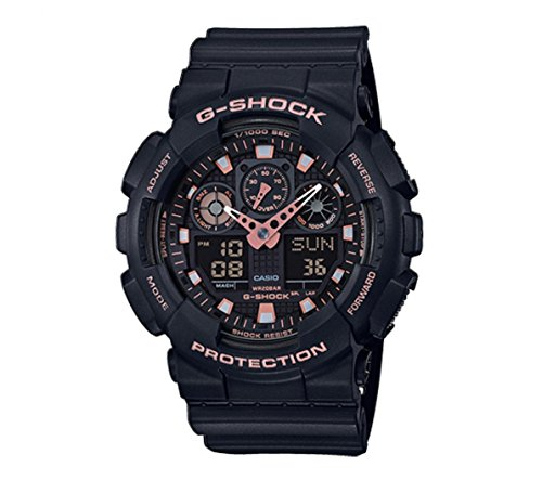 Casio G-Shock Black Rose Gold Analog Digital Watch GA100GBX-1A4