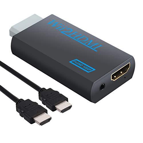 CAMWAY Wii zu HDMI Adapter, HDMI 720p oder 1080p Video Konverter Adapter mit 3,5 mm Audio, für Wii Monitor Beamer Fernseher Schwarz