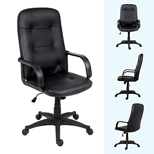 Outwin Home Office Chair for Bedroom,High-Back Ergonomic Design Executive Desk Chair with Arms Comfy Leather Swivel Computer Chair,Height Adjustable&Rocking Function(Black)