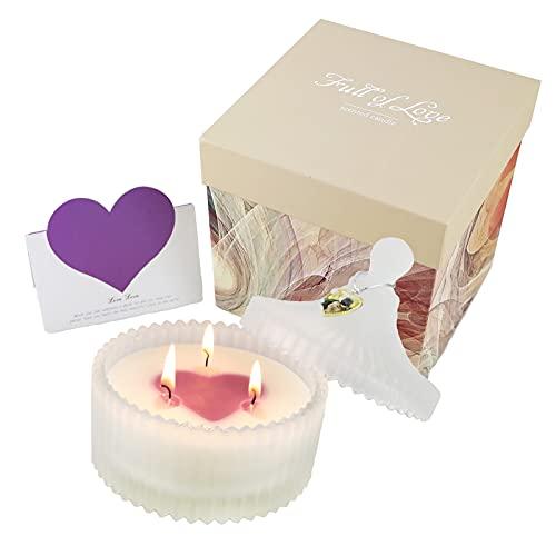Yinuo Candle Velas Grandes Tarros Perfumados, Cera de Soja Velas Románticas Perfumadas Vela Mediana Aroma de Lavanda, Regalo para Dama, Regalo de San Valentín