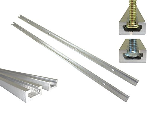 Lot 2 Each, 48' Aluminum T Track 3/4' by 3/8' Slot, Accepts 1/4' Hex Bolts, 1/4' or 5/16' T Bolts, Countersunk Holes Every 6' 112132