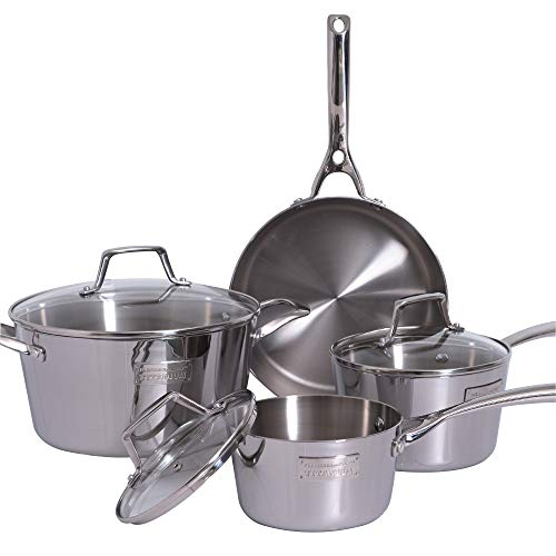 Fleischer & Wolf Silver Cookware Set 7-pieces, Pots and Pans Sets,Tri-Ply 403 Stainless...