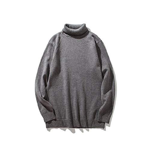 YANGPP Hochgeschlossener Pullover Männlich Weiß Paar Herrenpullover Herbst Einfarbig Verdickung Slim-Version, Grau, XL