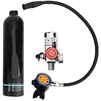 Mini botella de oxígeno para buceo, tanque de aire para buceo de 1 litro Rebreather portátil de cilindro de oxígeno subacuático con metal puro Cabezales de válvula de respiración secundaria Equipo de