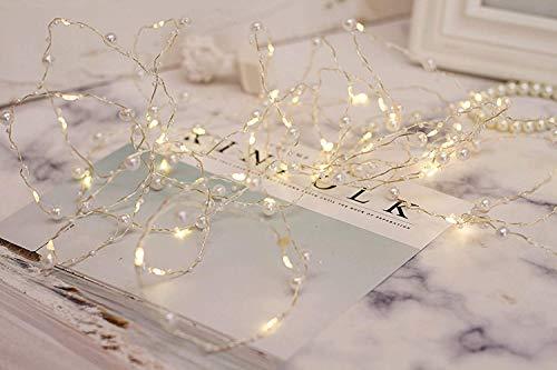 60er Mini LED Draht Lichterkette mit Perlen Timer Batteriebetrieb Innen Romantisch Deko Warmweiß gresonic