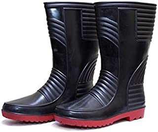 Hillson Welsafe Safety Gumboots with Lining, Black/Red, Size UK 10