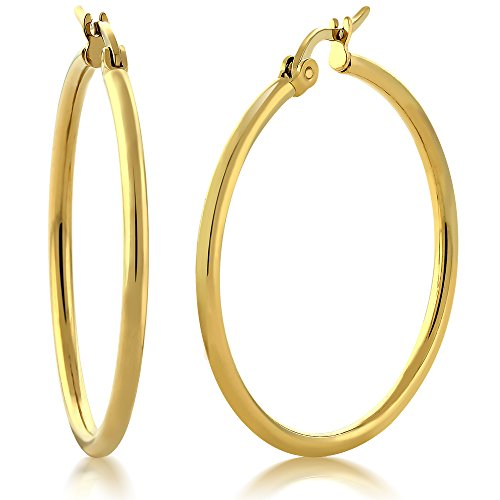 Gem Stone King 1.25inches Stunning Stainless Steel Yellow Gold Plated Hoop Earrings (30mm Diameter)