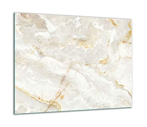 TMK | Herdabdeckplatte 60x52 Einteilig Glas Elektroherd Induktion Herdschutz Spritzschutz Glasplatte Deko Schneidebrett Marmor Weiß