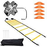I IHAYNER Speed & Agility Training Ladder Set with 5 Cones and Resistance Parachute Indoor Outdoor Adjustable Rungs Agility Ladder Quick Footwork - Soccer Training Equipment Kit with Carry Bag