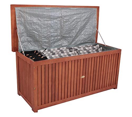 Contenitore per cuscini da giardino in legno di acacia, ca. 133 x 58 x 55 cm, con coperchio, 236 litri, marrone