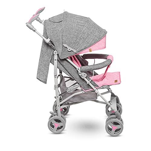 Lionelo Irma Silla de paseo plegable 51 x 80 x 101 cm Diseño ultraligero 7 kg Respaldo ajustable Para niños de hasta 15 kg 6-36M Cinturones de seguridad de 5 puntos Cesta de la compra Gris y rosa