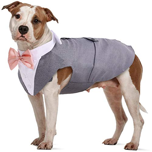 IDOMIK Dog Tuxedo Suit for Small Medium Large Breed, Formal Dog Tuxedo Vest Set with Detachable Bow Ties Collar & Bandana Scarf, Gentle Pet Costume/Dress/Clothes/Shirt for Wedding Birthday Party Grey