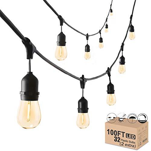 Outdoor String Lights LED Mains, 30 Meters Festoon Garden String Lights 30 E27 Waterproof Sockets, 32pcs LED Shatterproof Patio String Lights for Garden Party Wedding Backyard
